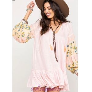 FREE PEOPLE Mix It Up Tunic Pink, Mini Dress